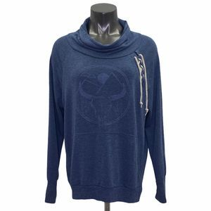 Well Worn Blue Cowl Neck Bull Decal Sweater XL